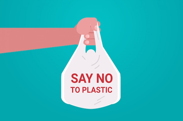 Человеческая рука держит мешок сказать нет пластика загрязнение окружающей среды рециркуляция проблема экология сохранить концепцию земли плоский горизонтальный