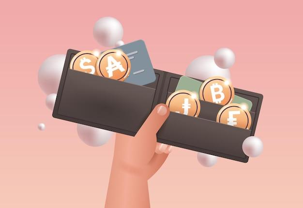 Человеческая рука держит криптокошелек с золотыми монетами, технология блокчейн криптовалюты, цифровая валюта