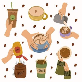 다른 커피 컵과 머그바리스타를 들고 있는 인간의 손에 아늑한 벡터 손으로 그린 그림