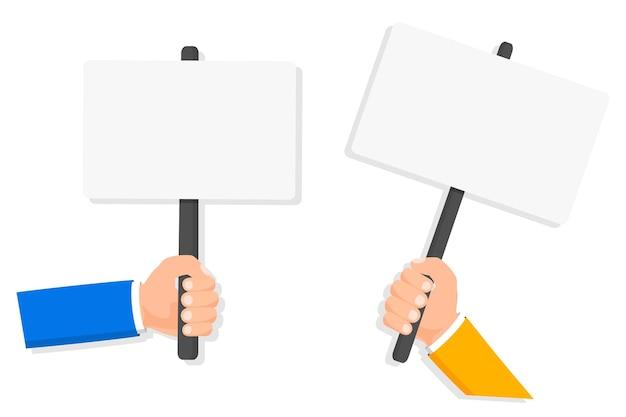 배너 디자인에 대 한 빈 현수막을 들고 인간의 손에 항의 정치 혁명 시연