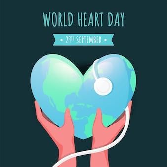 世界地球の日の緑の背景に聴診器から光沢のあるハート形の地球診断を持っている人間の手。