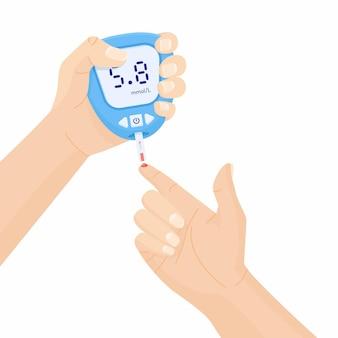 Человеческая рука держит глюкометр