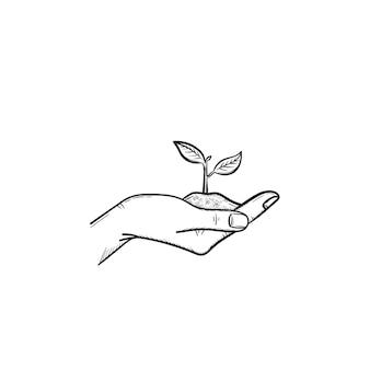 若い芽の手描きのベクトルアウトライン落書きアイコンと一握りの土壌を保持している人間の手。白い背景で隔離の印刷物、ウェブ、モバイル、インフォグラフィックの新芽スケッチイラストを手に。