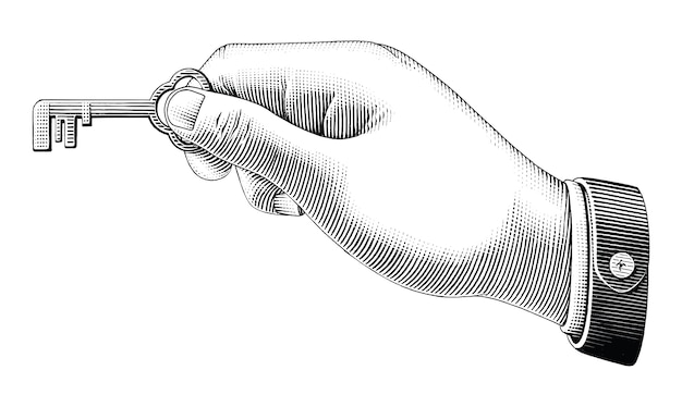 Human hand holding key drawing vintage style black and white clip art isolated