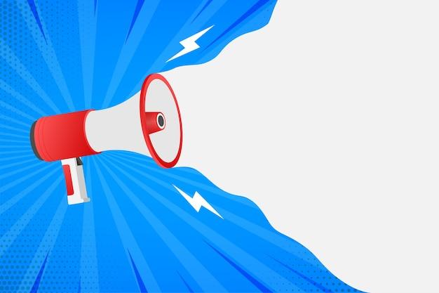 Human hand holding megaphone. social media marketing concept.