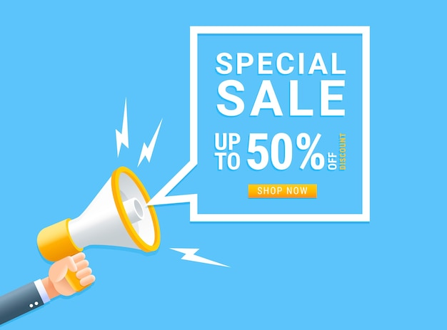 Human hand holding megaphone with bubble for special sale marketing concept