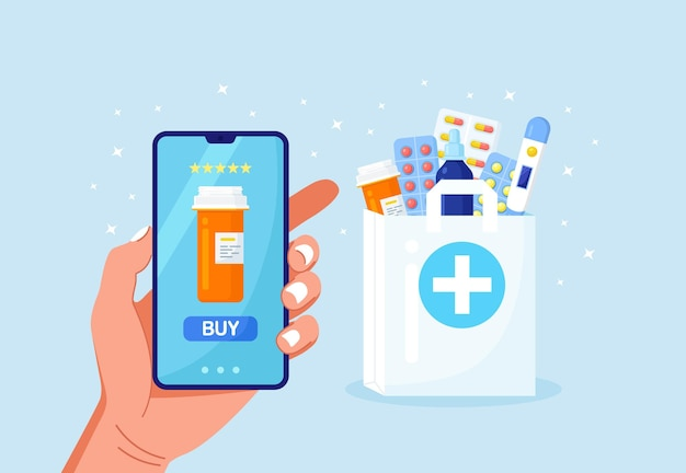Human hand holding mobile phone for medicine online payment. home delivery pharmacy service. paper bag with pills bottle, medicines, drugs, thermometer inside. medical assistance, health care concept