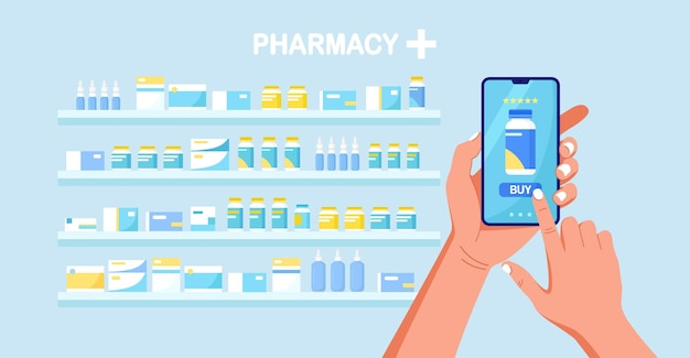 Human hand holding mobile phone for medicine online payment. online pharmacy shopping. medical assistance, health care concept.