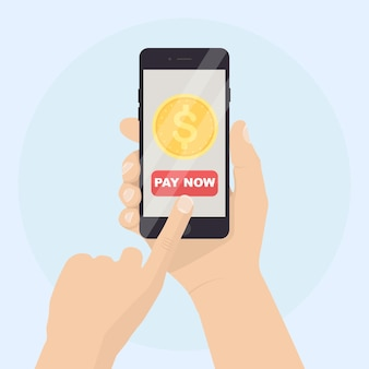 Human hand holding mobile phone with banking app illustration