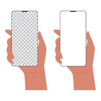 인간의 손에 빈 공간 만화 일러스트와 함께 휴대 전화를 들고