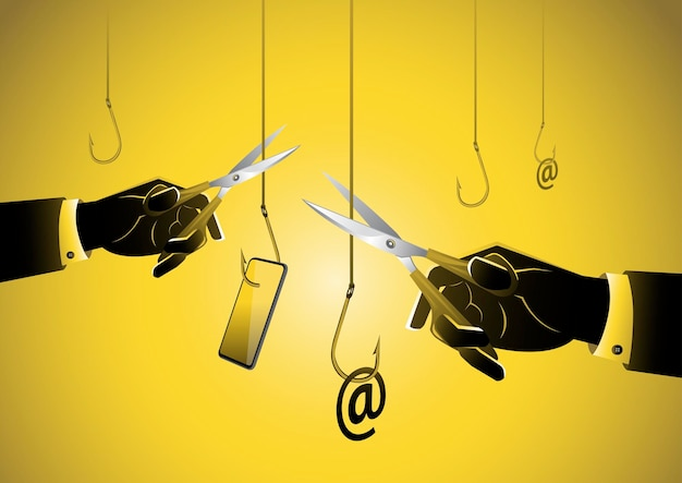Human hand holding a pair of scissors and cut the string of hook phishing