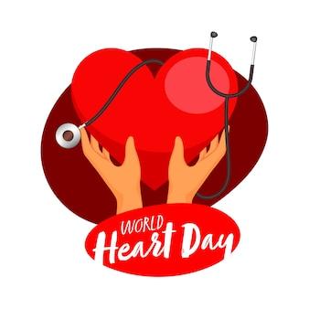 世界心臓デーの白い背景の上の聴診器で赤いハートを持っている人間の手。