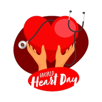 Human hand holding red heart with stethoscope on white background for world heart day.