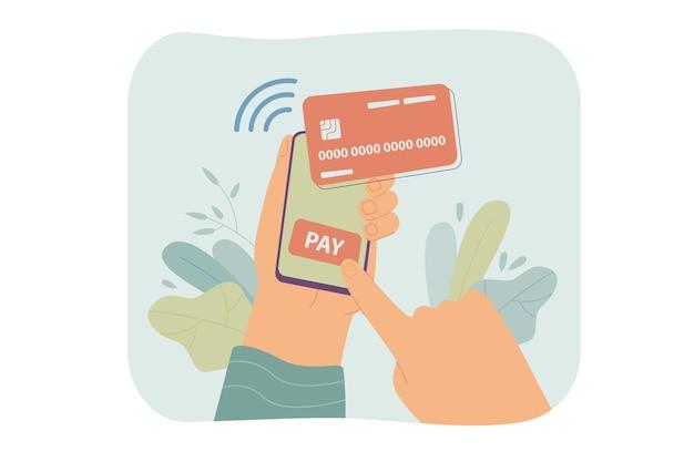 スマートフォンを保持し、オンラインで孤立したフラットイラストを支払う人間の手。