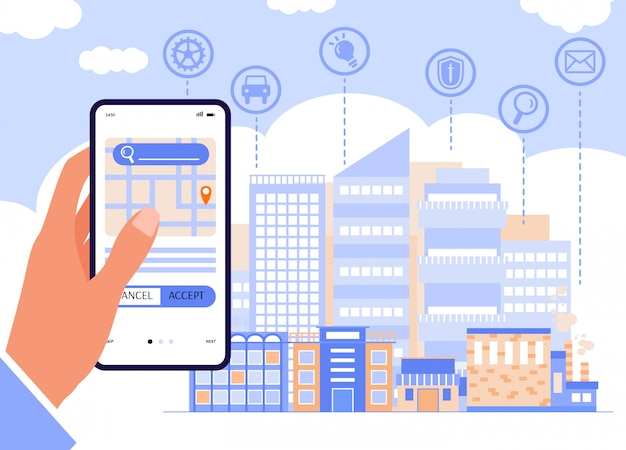 Human hand holding smartphone at cityscape, flat vector illustration.