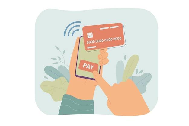 Human hand holding smartphone and paying online isolated flat illustration.