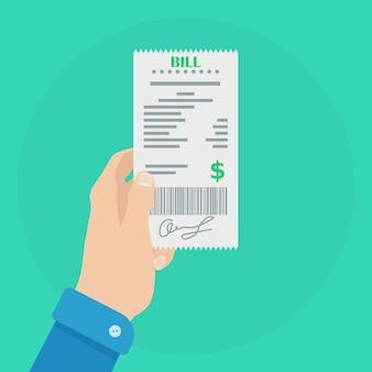 인간의 손은 지불을 위해 계정 또는 청구서를 보유합니다. 은행 및 비즈니스 운영