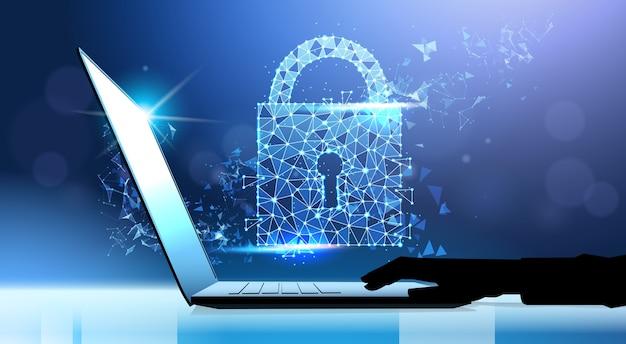 Human hand laptop padlock data protection privacy concept