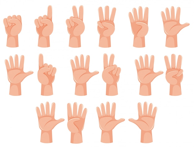 Human hand and number gesture