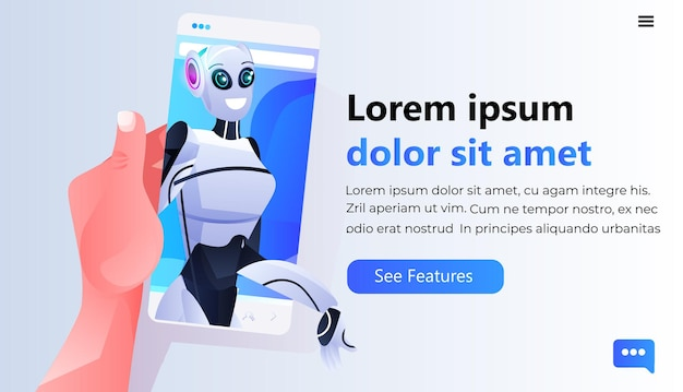 Human hand using smartphone with female robotic person on screen online communication artificial intelligence technology concept portrait copy space
