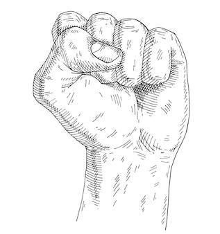 Человеческая рука со сжатым кулаком. винтажные монохромные штриховки иллюстрации, изолированные на белом фоне