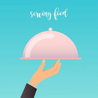 食品サービングトレイを持つ人間の手。モダンなイラストのコンセプトです。