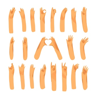 Human hand with collection of signs and hand gestures - ok, love, greetings, peace, waving hands. man and woman palm hands set