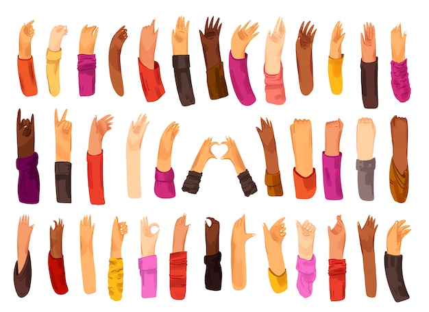 Human hand with collection of signs and hand gestures - ok, love, greetings, waving hands, phone and app control with fingers, fist up. man and woman of different nationality, multiracial hands set