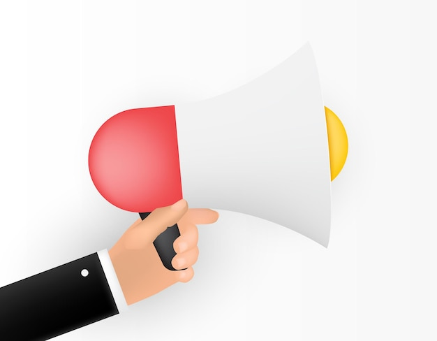 Human hand with megaphone isolated on white