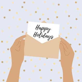 人間の手は手紙で開いた封筒を持っています。おめでとうハッピーホリデーと手紙を読むの概念。グリーティングカード。ベクトルフラットイラスト