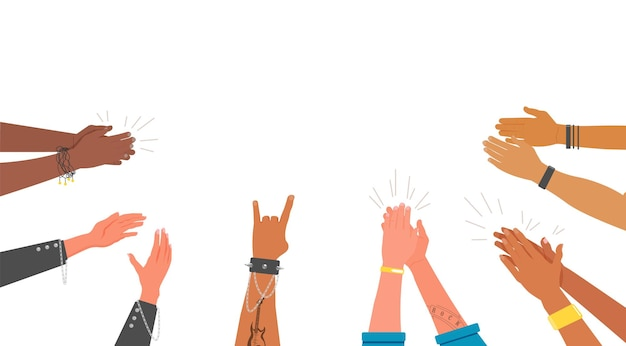 ポジティブなインスピレーションを与えるサポートジェスチャーをたたく人間の手。良いチームワークをおめでとうございます。多民族の人々は白い背景の上の腕の拍手喝采のベクトル図を群集します