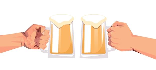 人間の手がビールマグカップオクトーバーフェストパーティーお祝い祭コンセプトフラット水平をクリックします