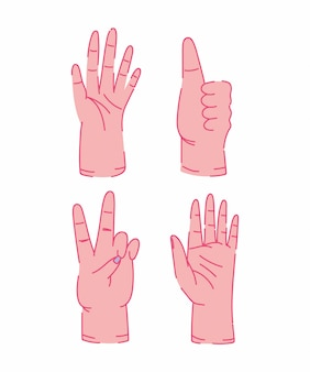 Human hands different gesture isolated icons design
