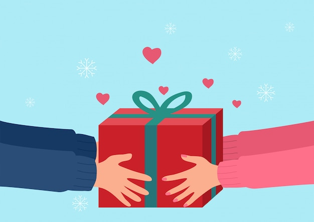 Human hands giving present