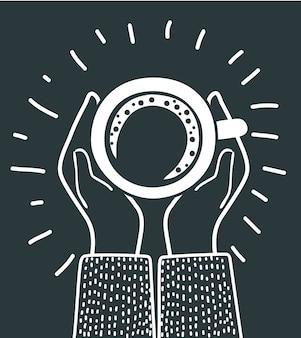 人間の手が一杯のコーヒーを保持