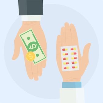 人間の手はお金と丸薬の水ぶくれを持っています。健康管理。麻薬の売買。薬局