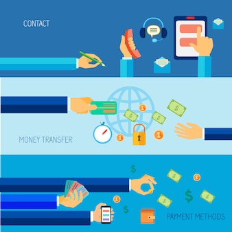 Human hands holding contact money transfer payment methods objects flat banner set isolated vector illustration