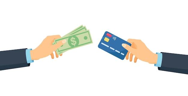 신용 카드 또는 직불 카드와 돈 청구서를 들고 인간의 손. 금융 운영, 투자, 거래 및 현금 회전율. 현금 및 비현금 결제