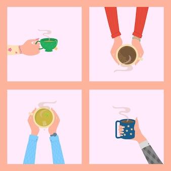 Человеческие руки держат чашки или кружки с горячими напитками