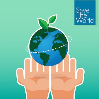 Human hands holding earth