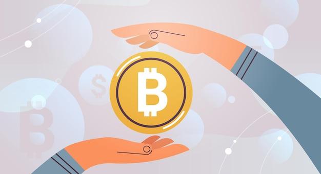 금화 bitcoin cryptocurrency 개념 수평 벡터 일러스트 레이 션을 들고 인간의 손