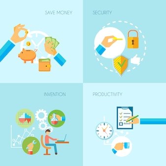 Human hands holding save money security invention productivity objects  flat set isolated vector illustration