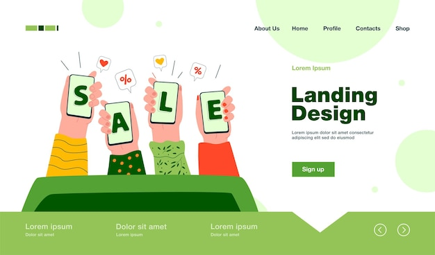 Human hands holding smartphones and showing sale landing page in flat style