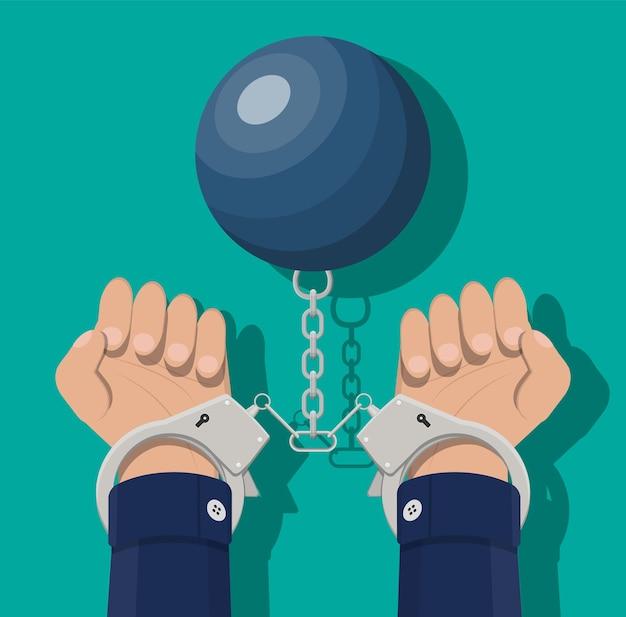 수갑과 무게 공에 인간의 손입니다. 범죄 방지, 부패 방지 개념입니다. 탈세, 범죄 및 뇌물. 평면 스타일의 벡터 일러스트 레이 션