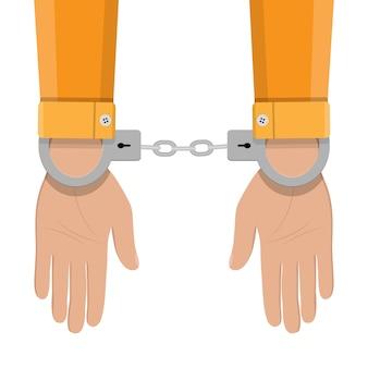 手錠をかけられて人間の手