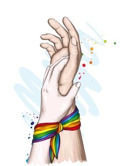 Human hands and lgbt rainbow ribbon