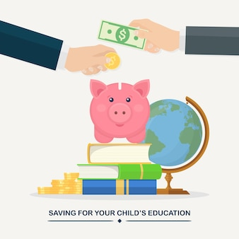 Human hands put gold coin, cash in piggy bank. education investment concept. stack of books, globe and money savings