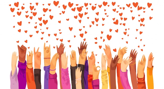 Human hands rised up and sending love, appreciation, connection and support. dating app, searching for love and romantic event or date, sending love and like signs illustration.