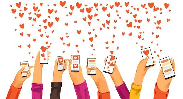 人間の手はスマートフォンの出会い系アプリで立ち上がり、愛とロマンチックなイベントやデートを探し、愛などのサインを送っていました。出会い系アプリ、オンラインチャットと会話、愛の概念を見つける Premiumベクター
