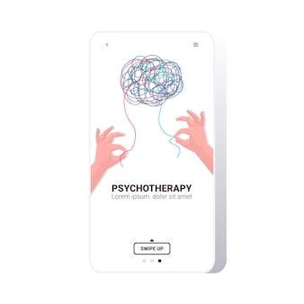 もつれた脳の心理療法セッションの問題を解決する人間の手によるストレス中毒の治療
